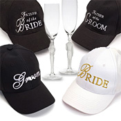 bride groom baseball caps-hats