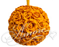 Burnt Orange Silk Pomander Kissing Ball Wedding 8 inches