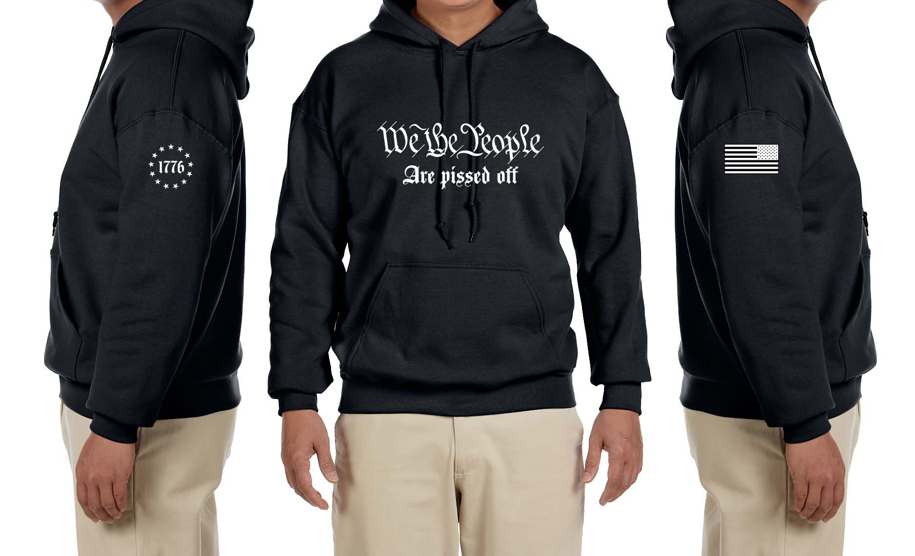 We The People Are Pissed Off 2nd Amendment 1776 Flag Hoodie